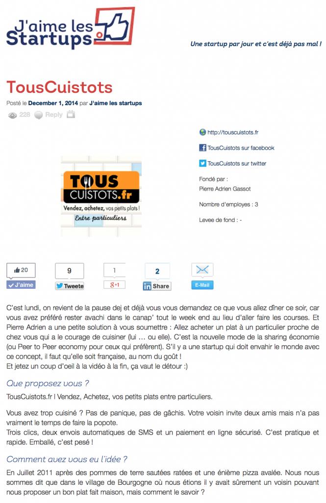 #lacuisineentreparticuliers #jaimelesstartup #articlepresse